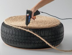 DIY Tire Ottoman - Attach Rope to Board using Hot Glue