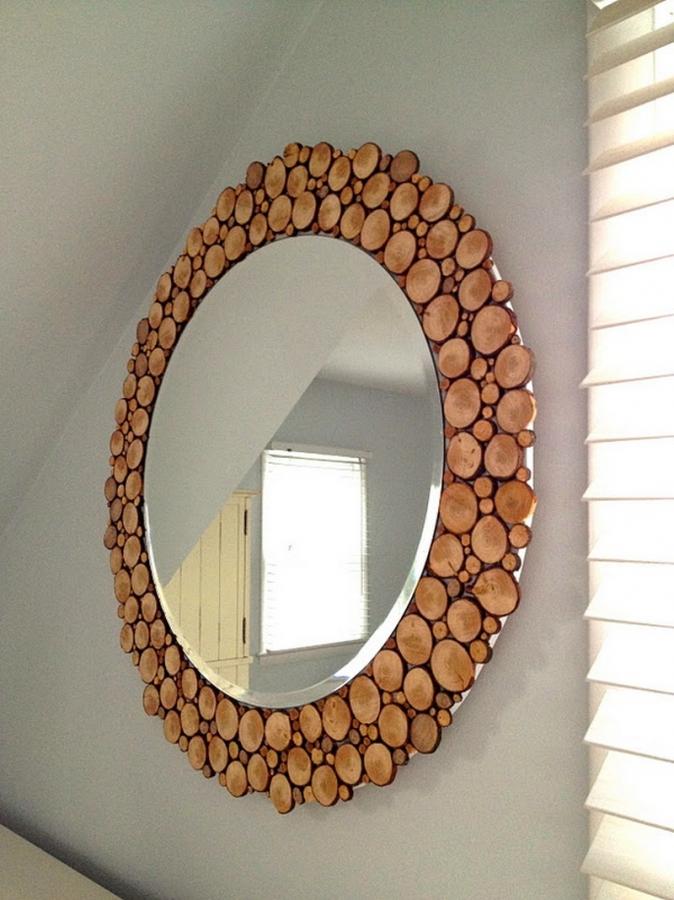 DIY Wood Slice Mirror