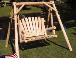 Outdoor Log Swing by Lakewood Mills