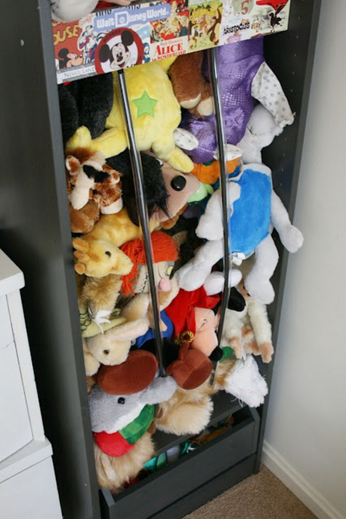 Cabinet and Bungee Cord Toy Storage