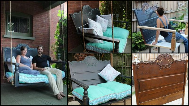 DIY Porch Swing Featuring Repurposed Headboard