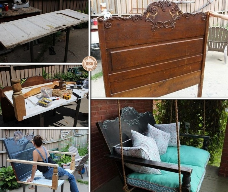 DIY Porch Swing Featuring a Repurposed Headboard!