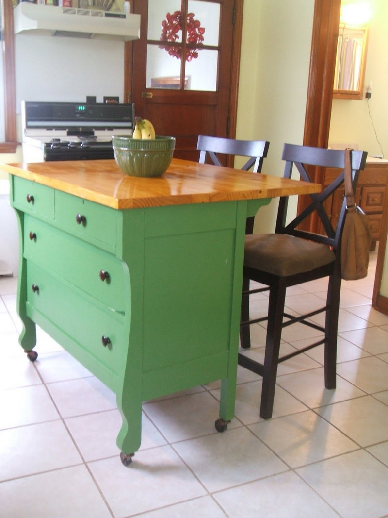 Turn Old Table Into Kitchen Island