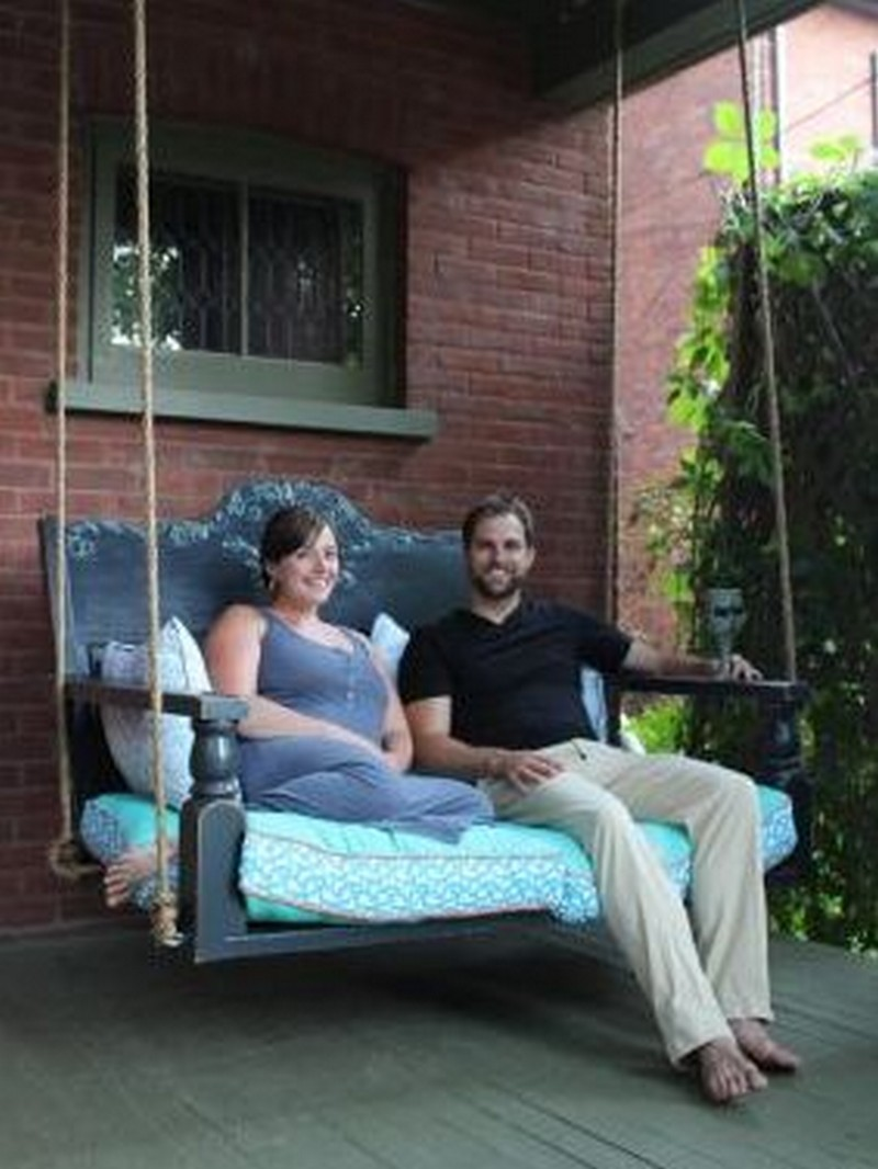 Diy Porch Swing Featuring A Repurposed Headboard The