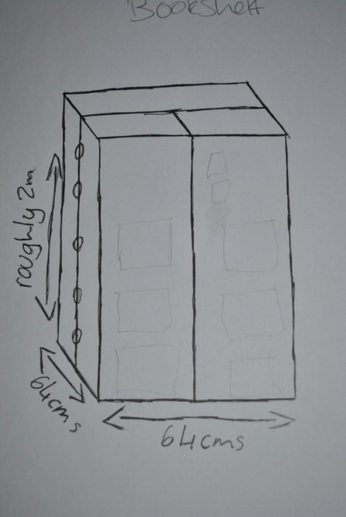 DIY TARDIS Bookshelf - Drawing