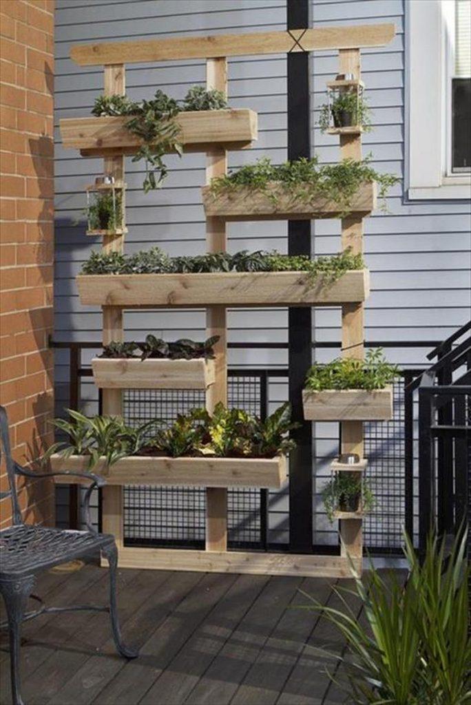 Vertical Wooden Box Planter