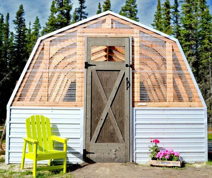 Diy barn greenhouse the owner builder network for Simple homemade greenhouse