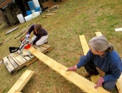 DIY Goat Pallet Barn - Sawing