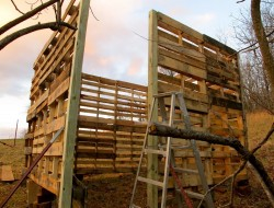 DIY Goat Pallet Barn - Second level of pallets