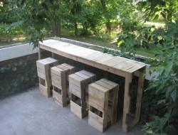 DIY Pallet Outdoor Bar and Stools  - Finish Pallet Bar and Stools