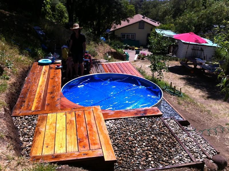 Livestock Tank Turned DIY Pool - Tank Pool