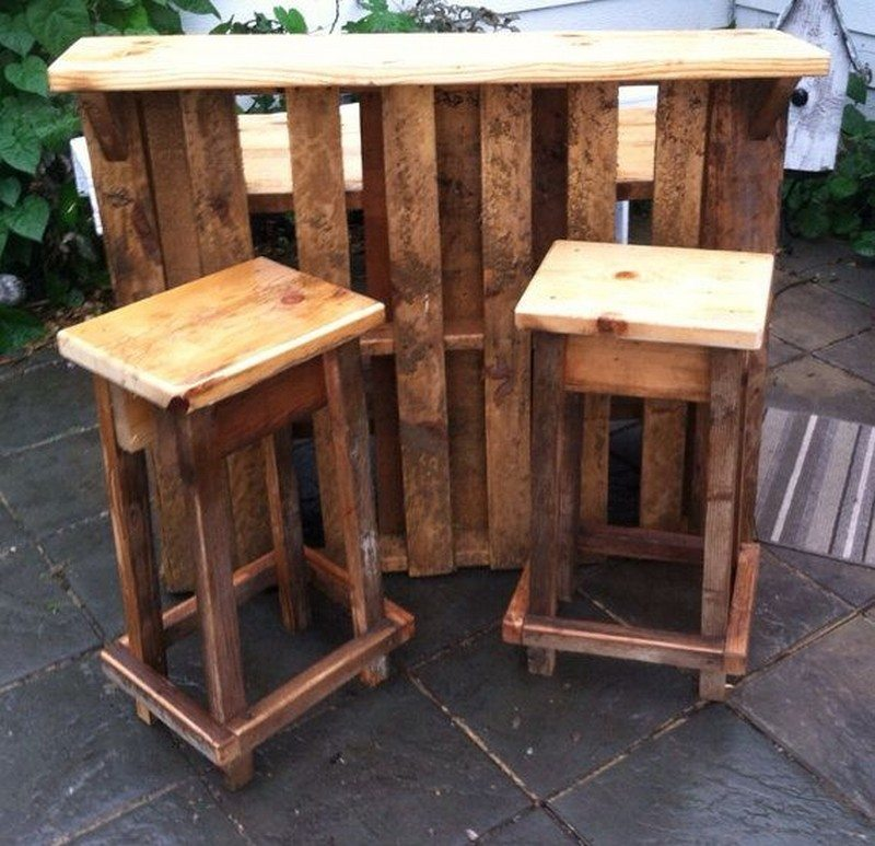 Diy pallet outdoor bar and stools recycled pallet outdoor Rustic outdoor bar stools