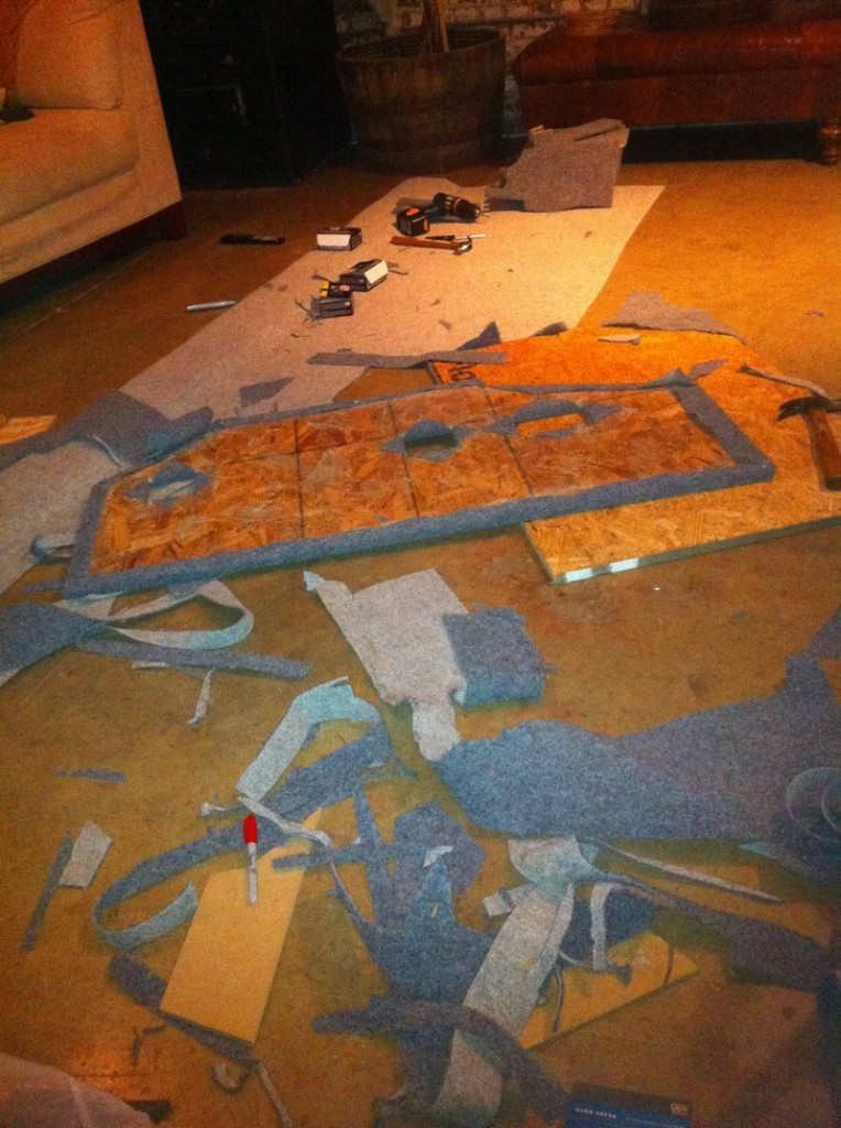 DIY AT AT Cat House - Carpeting the Plywood