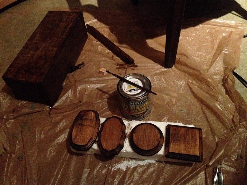 DIY AT AT Cat House - Staining