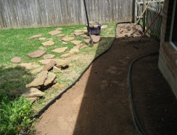 DIY Backyard Walkway - Cleaning the area