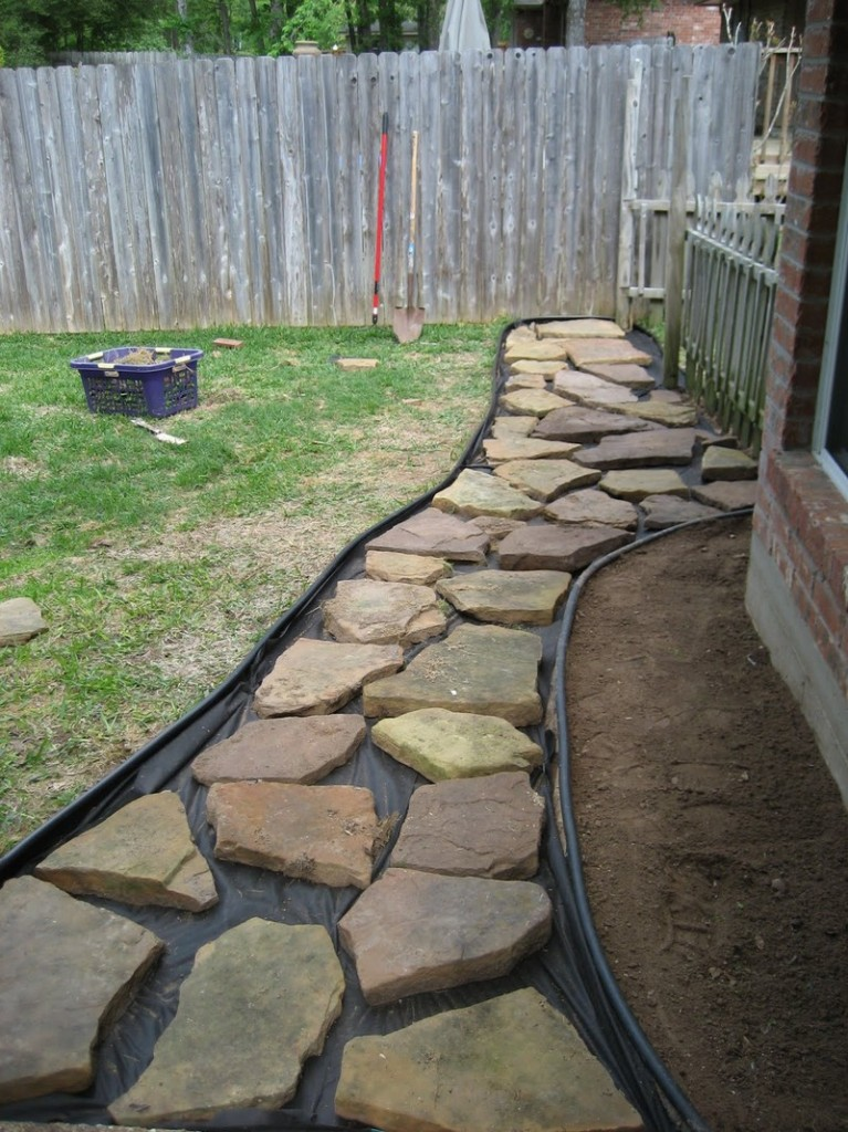 DIY Backyard Walkway - Putting Big rocks