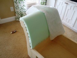 DIY Chaise Lounge with Storage -  Add the foam on the backrest