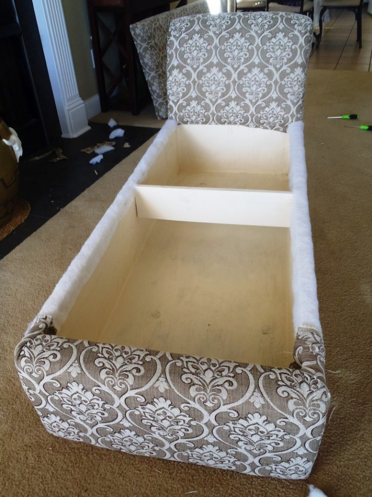 DIY Chaise Lounge with Storage - Covering the backrest