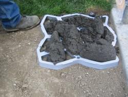 DIY Cobble Stone Path - Put concrete inside the frame