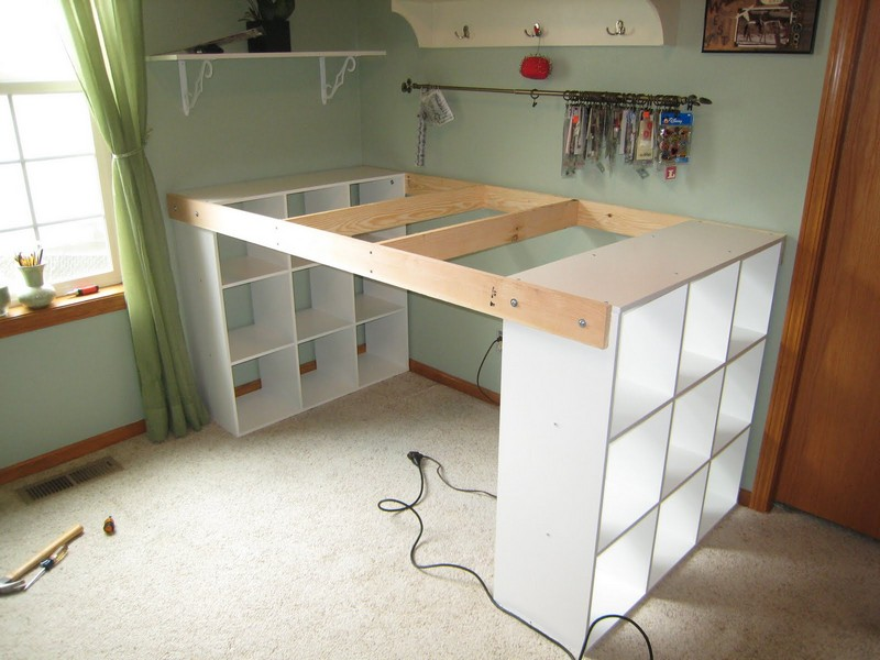 DIY Custom Craft Desk - Drill 2 holes on each side