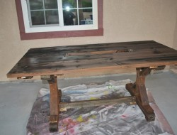 DIY Farm Table with Beer/Wine Coolers - Staining