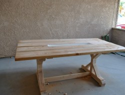 DIY Farm Table with Beer/Wine Coolers - Putting Rain Gutter