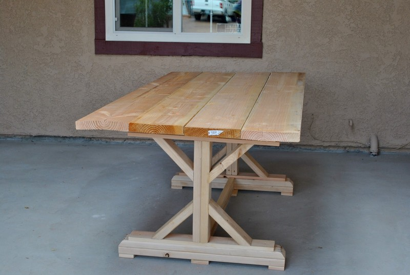 DIY Farm Table with Beer/Wine Coolers - Finished table