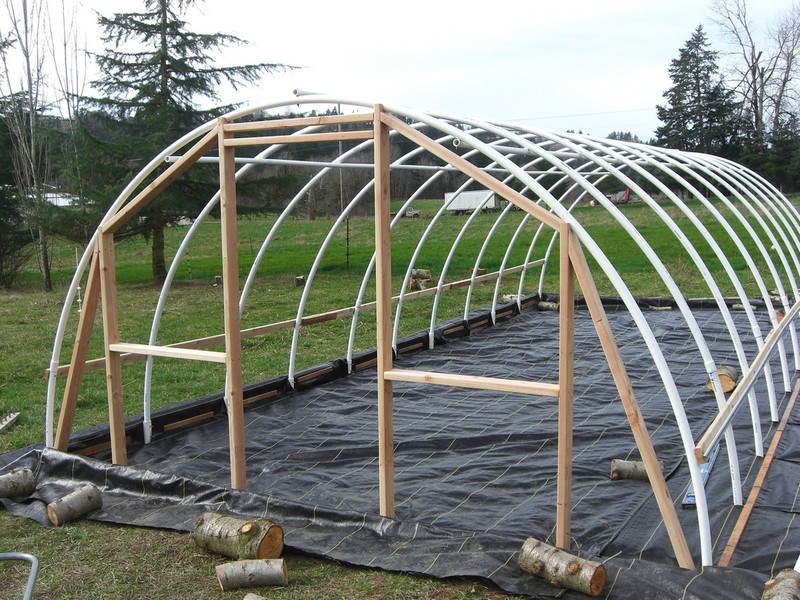 diy hoop greenhouse build end walls - Dome Greenhouse Designs