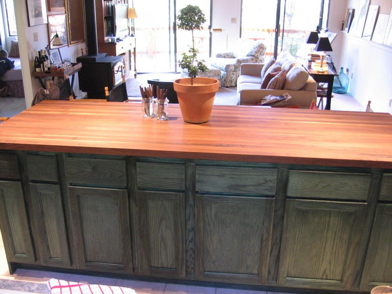 DIY Kitchen Island Cabinet - Staining green