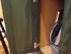 DIY Kitchen Island Cabinet - Staining green