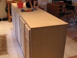 DIY Kitchen Island Cabinet - Sanded and shimmed
