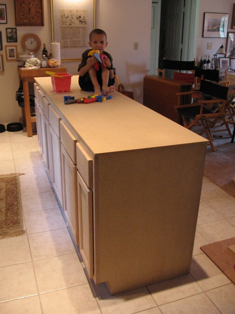 DIY Kitchen Island Cabinet - Sanded and shimmed