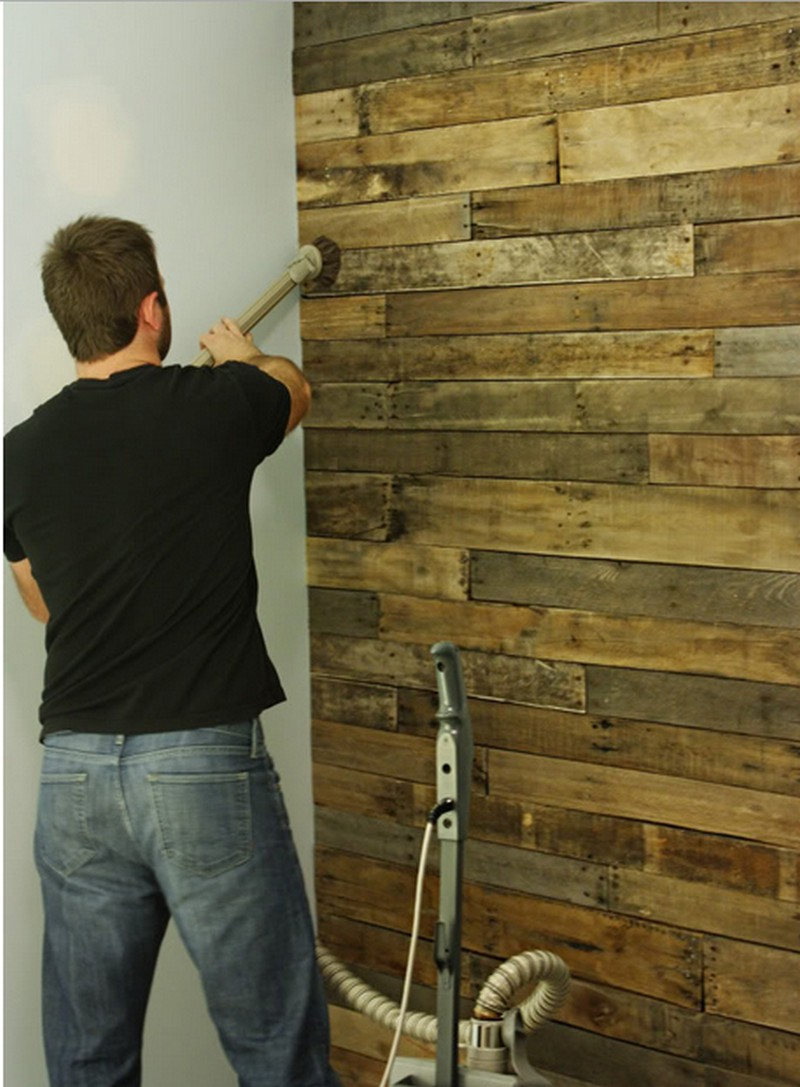 Pallet wall project the owner builder network - What kind of paint do you use in a bathroom ...