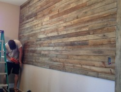 DIY Pallet Wall Project -  Nailing