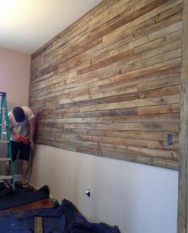 Pallet wall project - Wooden pallet accent wall ...