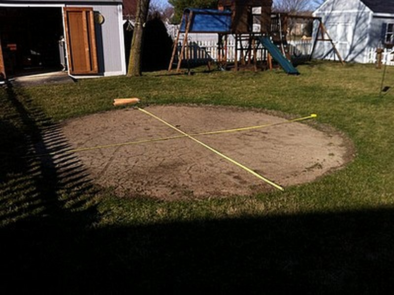 DIY Patio with Fire Pit - Measuring The Area