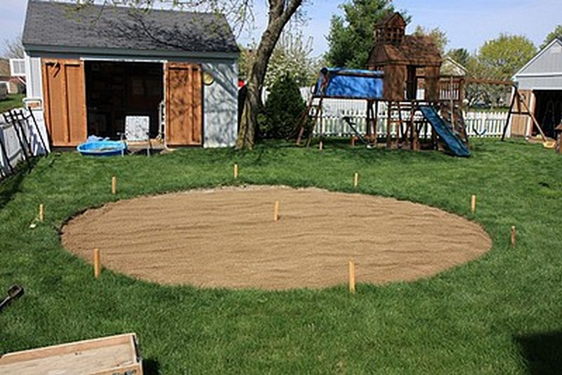 DIY Patio with Fire Pit - Putting Sand