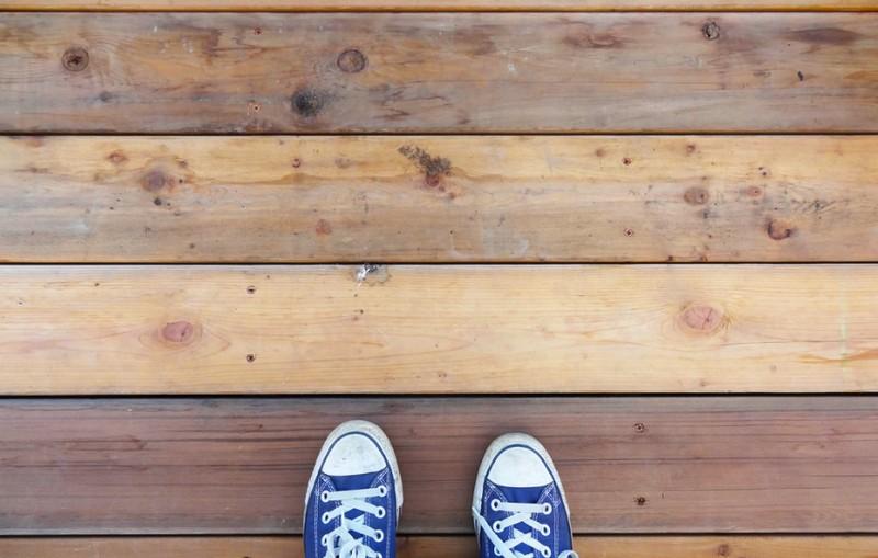 DIY Platform Deck - Deck mix of new boards