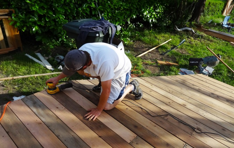 DIY Platform Deck - Sanding