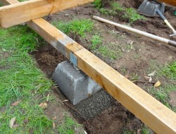 DIY Platform Deck - Support beams to the pier blocks