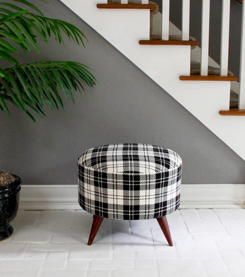 DIY Salvaged Spool Ottoman - Finished  Salvaged Spool Ottoman