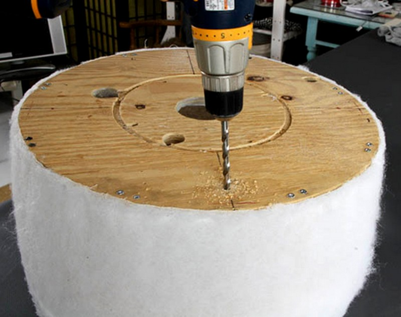 DIY Salvaged Spool Ottoman - Drilling the bottom