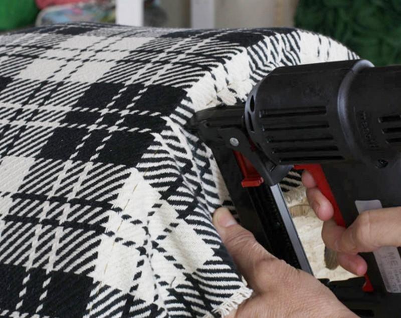 DIY Salvaged Spool Ottoman  -Fabric