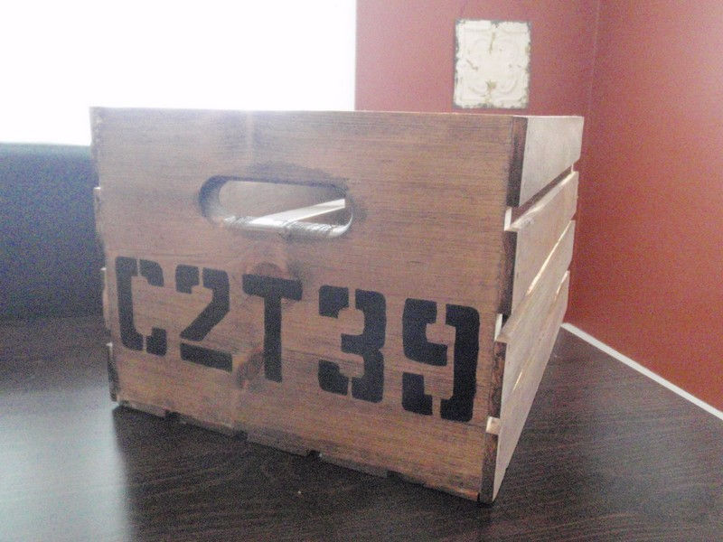 DIY Vintage Crate Shelving Unit - Painted letters and numbers