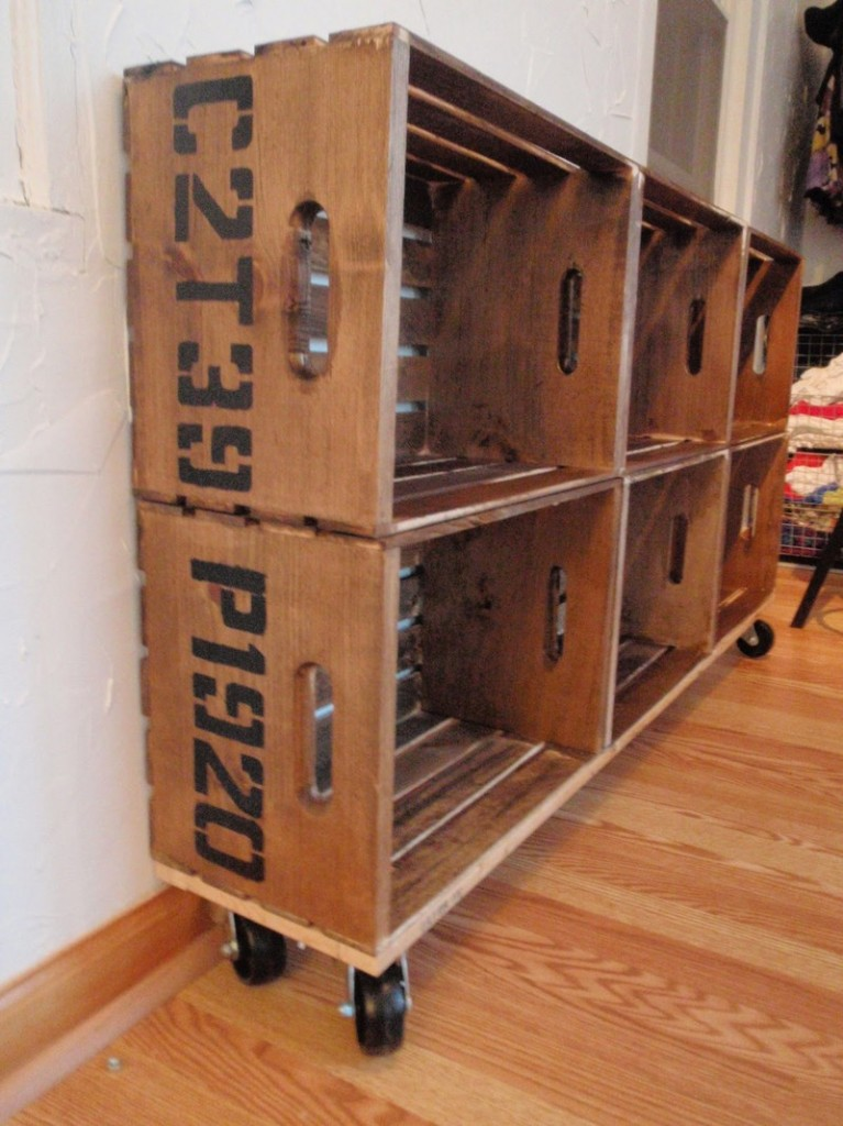 DIY Vintage Crate Shelving Unit - Add crates to the top
