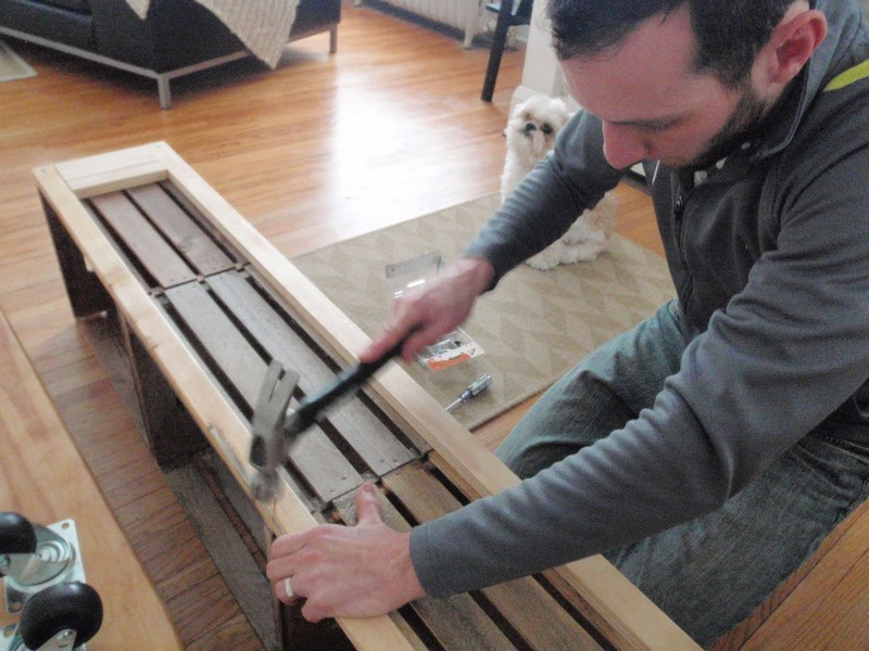 DIY Vintage Crate Shelving Unit - Hammered nails into the mid sections