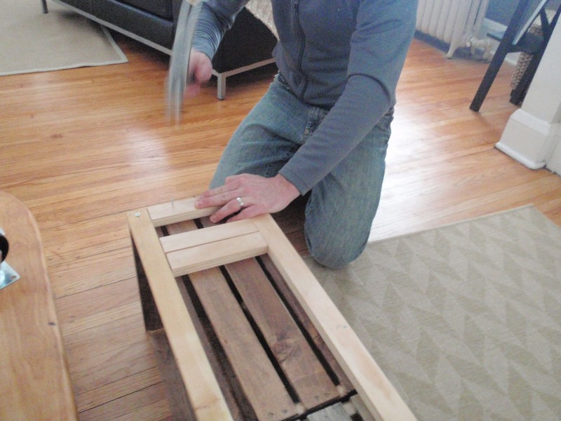 DIY Vintage Crate Shelving Unit - Hammered smaller wood pieces