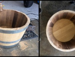 DIY Wine Barrel Dog Bed - Sanding