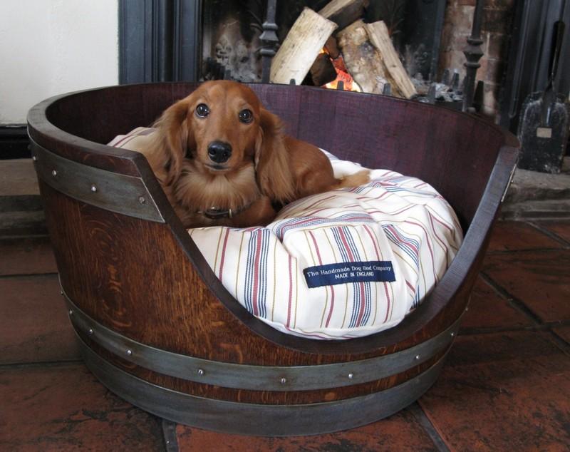DIY Wine Barrel Dog Bed - Finished Wine Barrel Dog Bed
