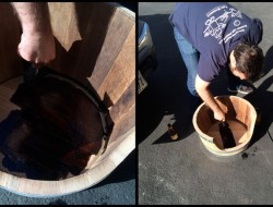 DIY Wine Barrel Dog Bed - Staining